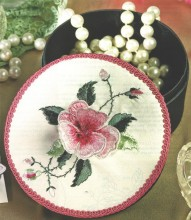 Beautiful round satin lined and covered box for you to decorate as you wish. The image here is a kit, called 3 D Rose (please see the Kit area of our Catalogue) and is an example of how the boxes may be decorated to create a wonderful gift or heirloom.
