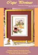 Cape Proteas - stunning stitchery with painted background